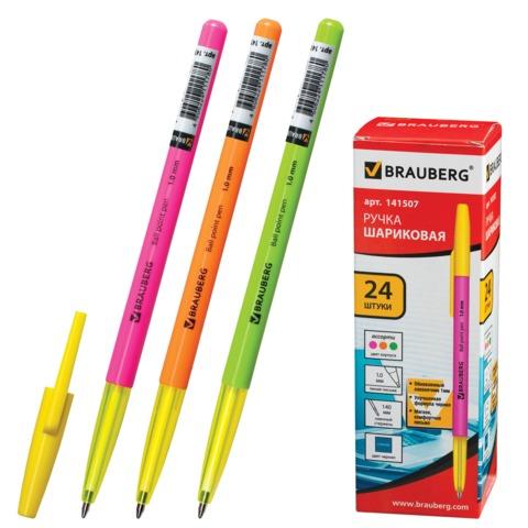 078750 Ручка шариковая BRAUBERG Color, корпус ассорти, узел 1мм, линия письма 0,5мм, синяя