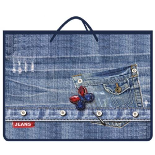 081790 Папка А4 с ручками верёв, на молнии, широкая Джинсовый карман, пластик
