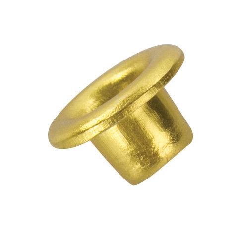 091139 Люверсы BRAUBERG, КОМПЛЕКТ 250 шт., внутренний диаметр 4,8 мм, длина 4,6 мм, золотистые