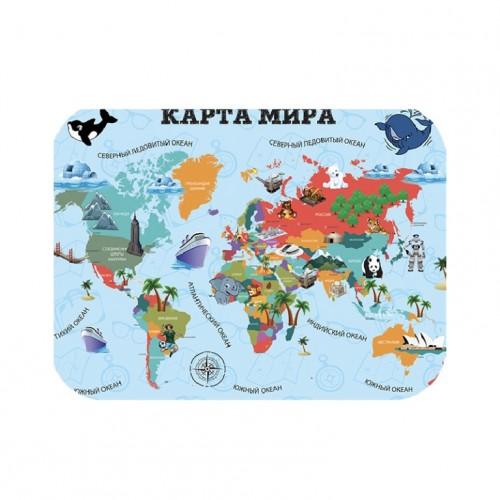 """082684 Настольное покрытие д/лепки 33*23см """"Карта Мира"""""""