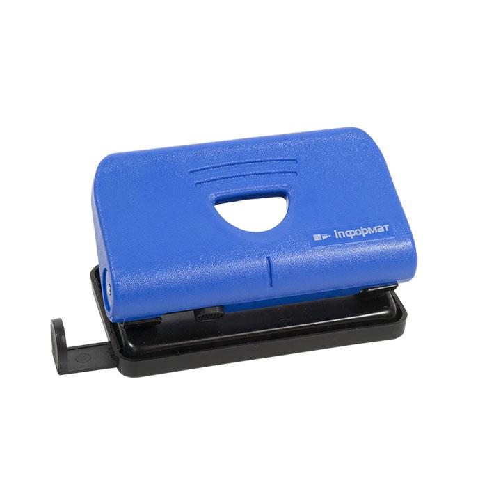 075196 Дырокол inФОРМАТ 10 л. 2 отвер. комбинированный синий линейка форматов