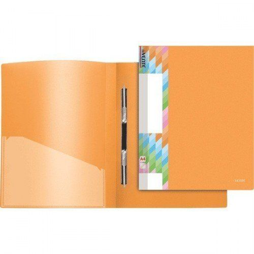 079335 Папка c пружин. скоросш. пластиковая 0,45мм, с карманом, оранжевая