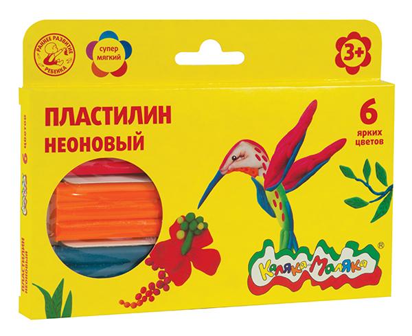 068396 Пластилин Каляка-Маляка неоновый  6 цв. 90 г со стеком 3+