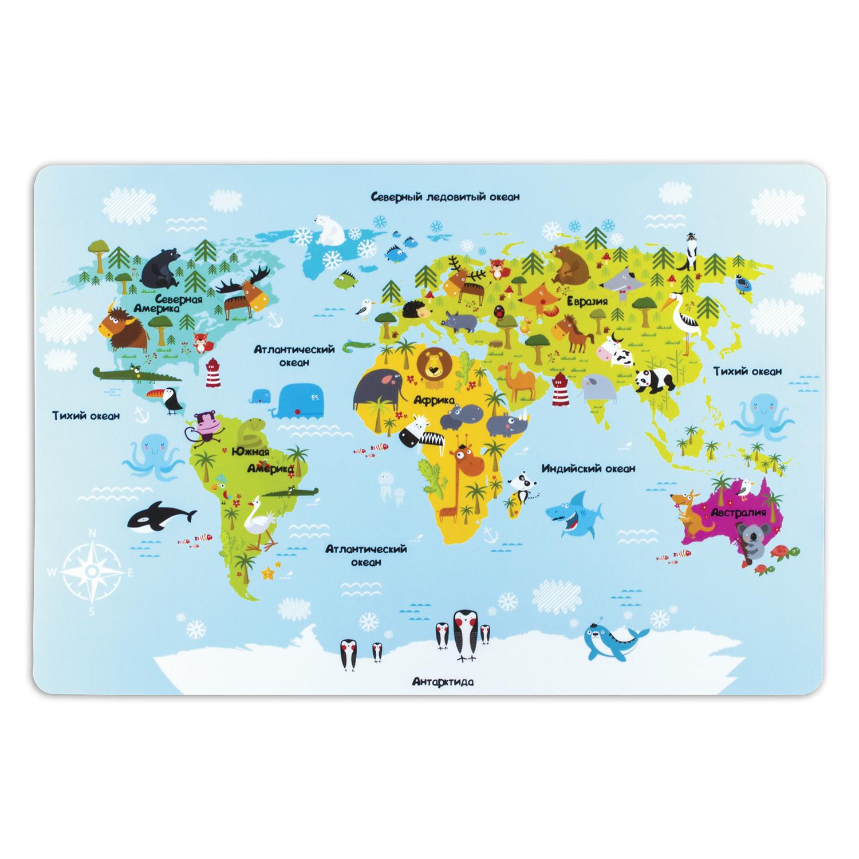 073509 Настольное покрытие для письма и творчества ПИФАГОР размер А3, пластик, Карта мира