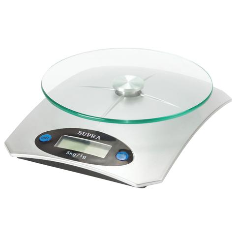 074166 Весы кухонные SUPRA BSS-4041, электронный дисплей, чаша, max вес 5 кг, тарокомпенсация, стекл