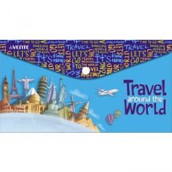 087462 Конверт на кнопке  с рисунком 260*140мм Travel around the world, 0,15мм, travel-size