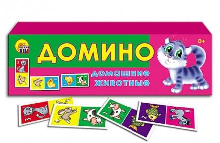 """050191 Игра пластик """"Домино. Домашние животные"""" 24 фишки"""