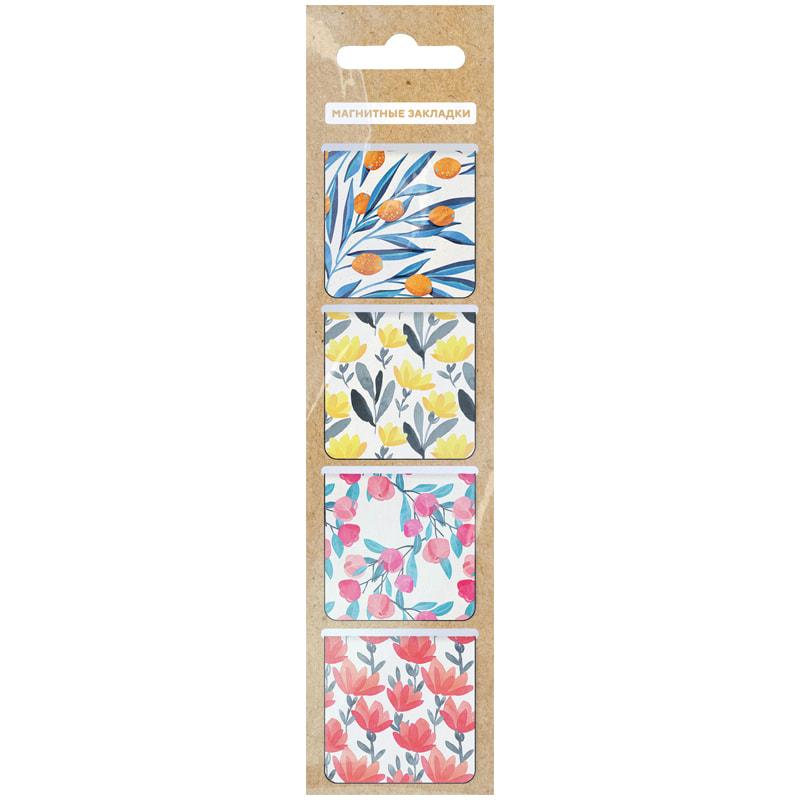 """087521 Закладки магнитные для книг 35*35мм, 4шт., ArtSpace """"Flowers"""""""