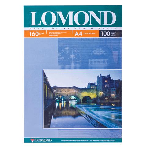 037502 Фотобумага LOMOND А4, 160г/м, 100л., одност, матовая(0102005)