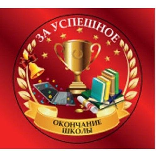 """082084 Медаль металлическая """"За успешное окончание школы"""""""