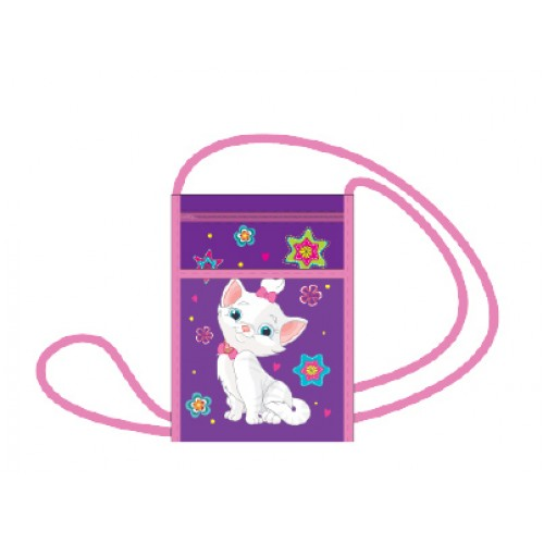 """086282 Кошелек  """"Белый котенок"""", на молнии с карманом, печать на ткани"""