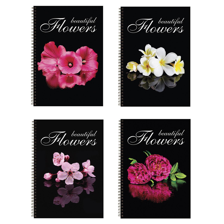 085106 Тетрадь А4, 96 л., BRAUBERG, гребень, клетка, обложка картон, Красивые цветы