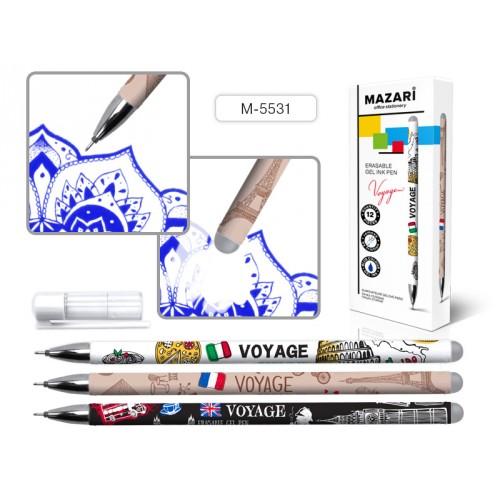 066580 Ручка - шпион MAZARI VOYAGE гелевая, синяя, со стираемыми термочернилами