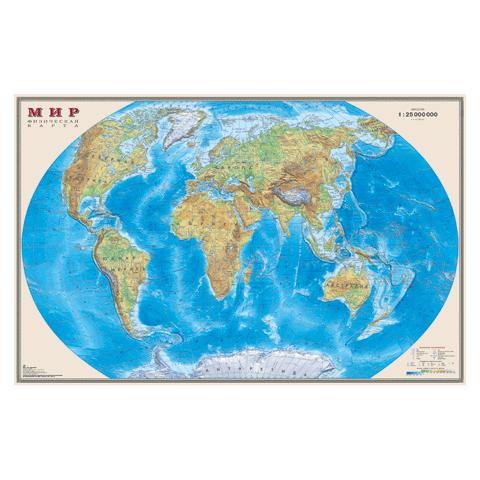 """044919 Карта настенная """"Мир.Физическая""""122*79см"""