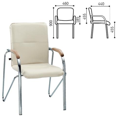 """061383 Кресло для приемных и переговорных """"Samba"""" хром.каркас, кожзам беж."""