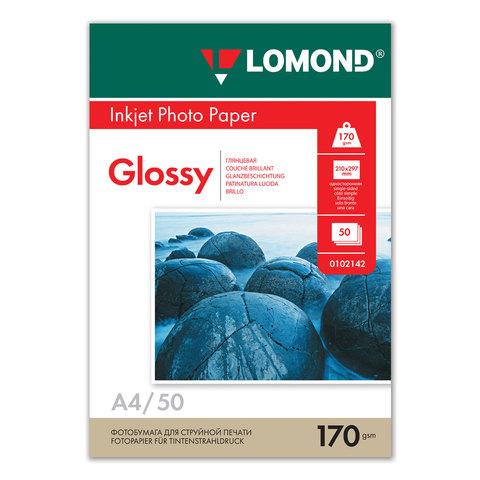 035659 Ф/бумага LOMOND А4 д/струйн.принтеров,50л. 170гр.,глянц.,одностор.(0102142)