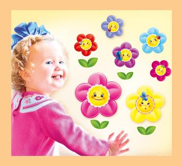 """033746 Набор украшений на скотче """"Веселые цветочки"""",11шт."""