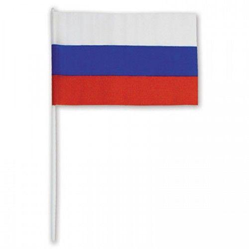 """084096 Флаг """"РОССИЯ"""" 15*22см, триколор, с палочкой"""