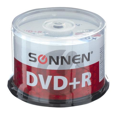 071803 Диски DVD+R (плюс) SONNEN 4,7Gb 16x Cake Box 1шт