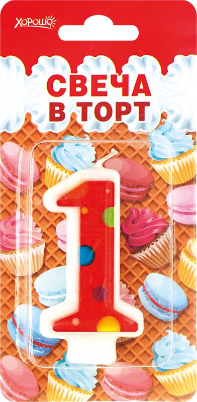 084030 Свеча в торт Цифра 1