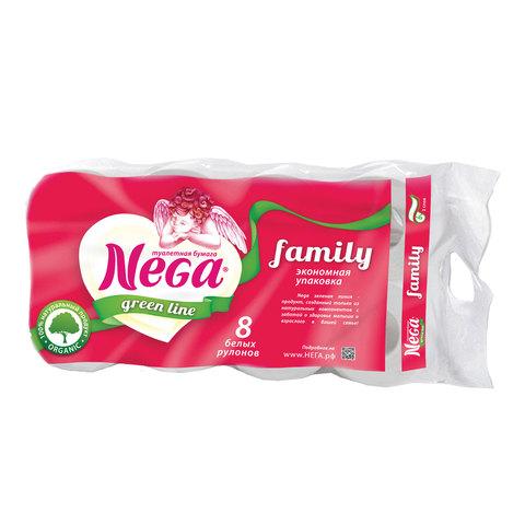 077268 Бумага туалетная 2-х слойная, NEGA Family спайка 8 шт