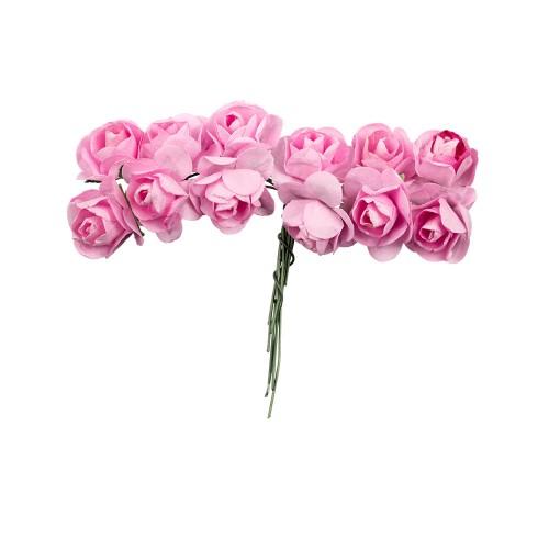 """084599 Декор.Цветы """"Розовый рассвет"""" розовые 6 шт"""