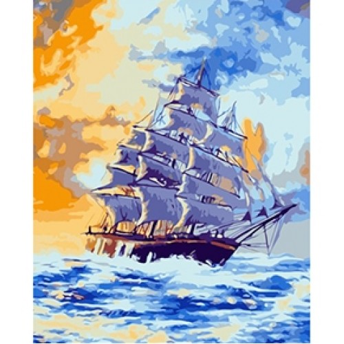 """086730 Мозаика алмазная по номерам 30*40см """"Корабль в море"""" на подрамнике"""
