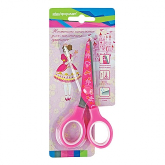 030062 Ножницы школьные Принцесса с принтом на лезвиях
