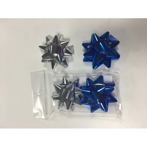 078536 Бант подарочный,  6см, клеевое основание, серебро/синий, 2 шт/уп.