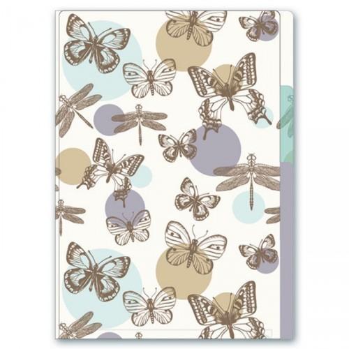 "071498 Папка уголок А5  ""Бабочки"" 3 отд, 185*230мм, пластик"