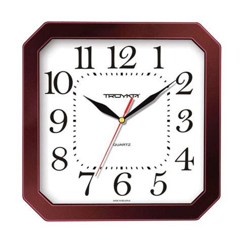 057702 Часы настенные TROYKA 31331316, восьмигранник, белые, коричневая рамка, 29х29х3,5 см