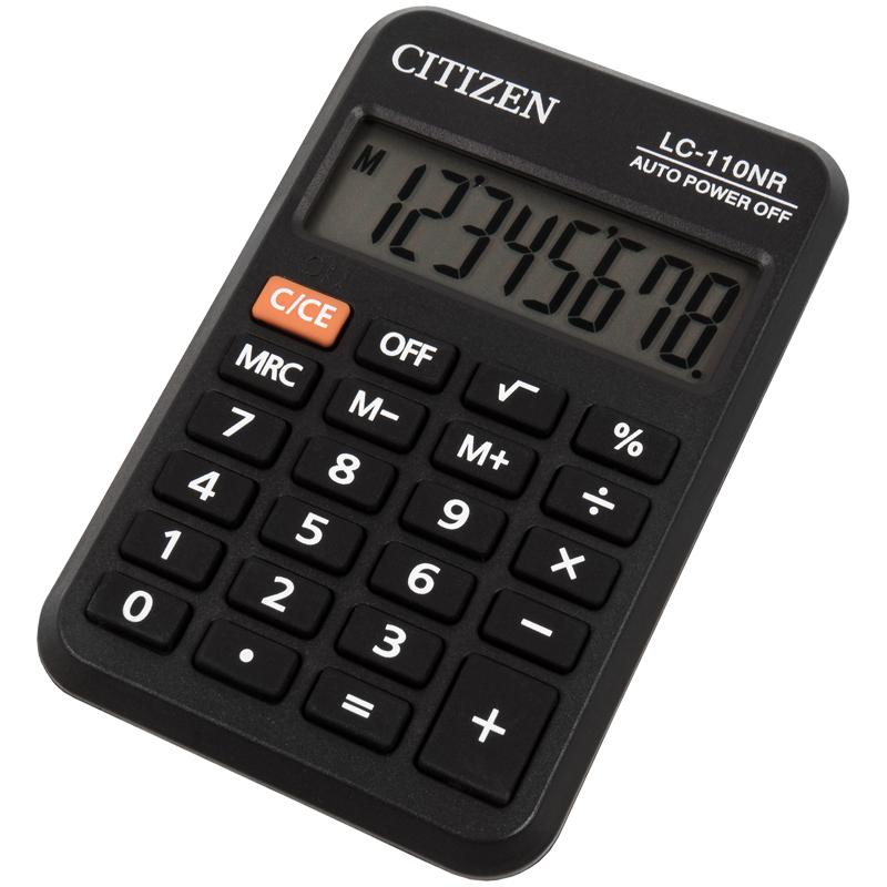 074941 Калькулятор карманный Citizen LC-110NR, 8 разрядов, черный