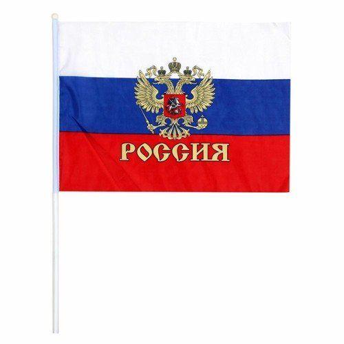 """084097 Флаг """"РОССИЯ"""" 20*28см, герб, с палочкой"""