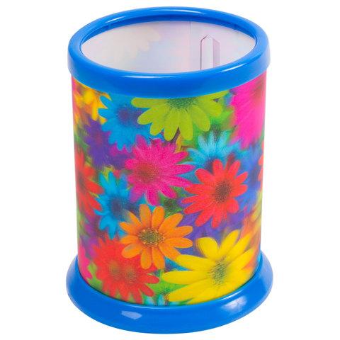 060610 Подставка-стакан для канцелярских принадлежностей BRAUBERG,3D, Цветы