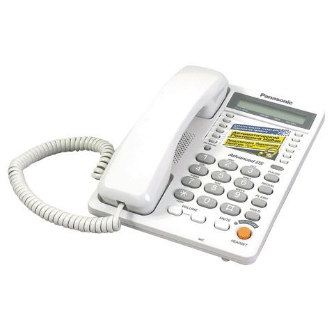061496 Телефон PANASONIC KX-TS2365 RUW, память на 30 номеров, ЖК-дисплей с часами, автодозвон