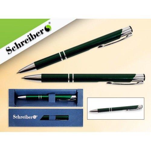 073877 Ручка шариковая в футляре, цв.корпуса Зелёный