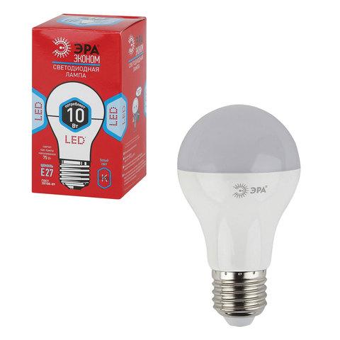068376 Лампа светодиодная ЭРА,10(75)Вт, цокольE27,грушевидн.,холодн.бел., 25000ч
