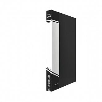 029445 Папка с прижимом inФОРМАТ А4,черный пластик,0,75 мм, карман