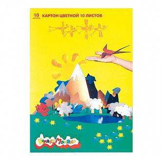 021085 Картон цветной немелованный А4, 10 л., 10 цв., Каляка-Маляка