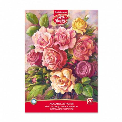"""087565 Альбом для акварели А4 20 л """"Розы"""", склейка"""