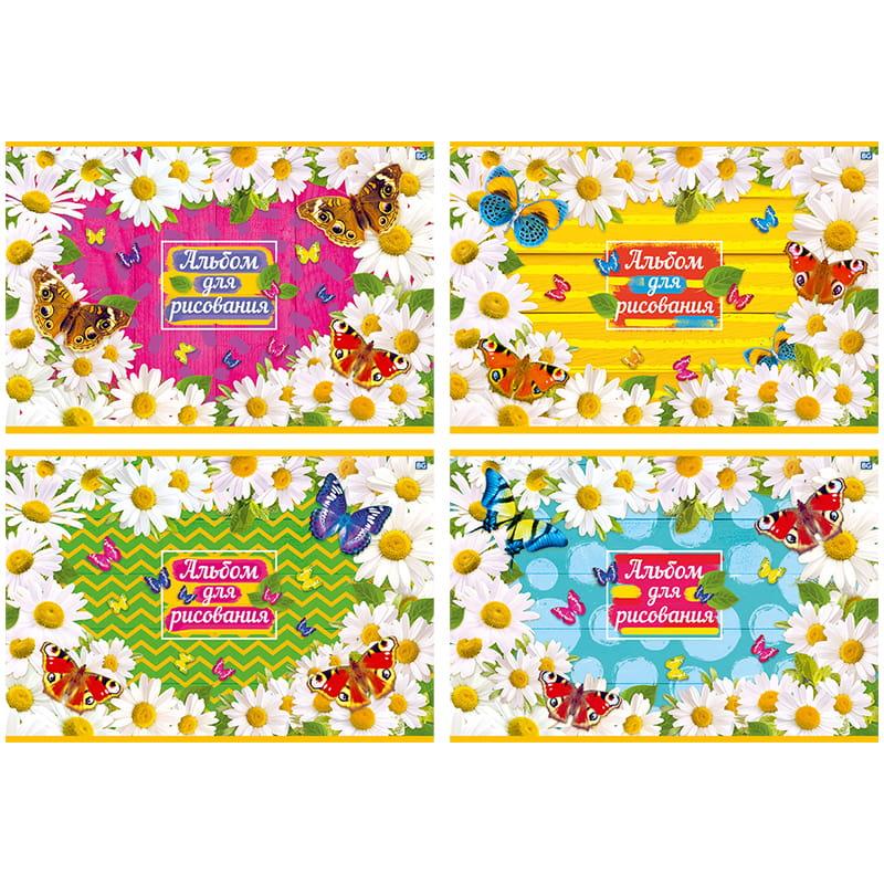"""079572 Альбом для рисования А4, 12 л.,  на скрепке BG """"Бабочки и ромашки"""""""