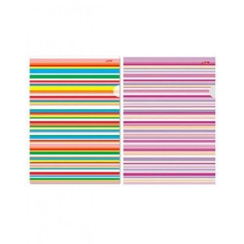 073554 Папка уголок А4  с рисунком Цветные полоски, 0,15мм