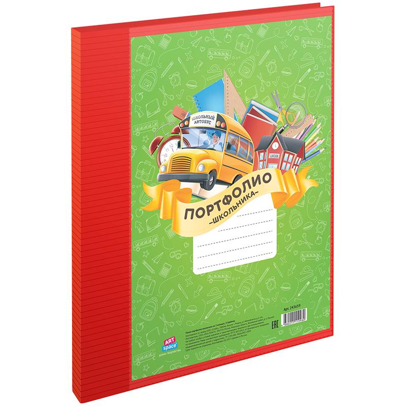 073692 Папка-портфолио пластиковая А4 ArtSpace, на 2-х кольцах для школьника, 10 файлов