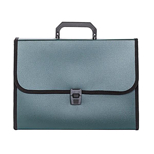 061116 Портфель inФОРМАТ А4 зелен. пластик 700 мкм оторочка ручка 13 отд. замок