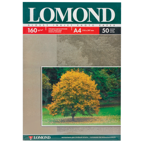 026393 Ф/бумага LOMOND д/струйной печати А4, 160г/м, 50л., односторонняя, глянцевая