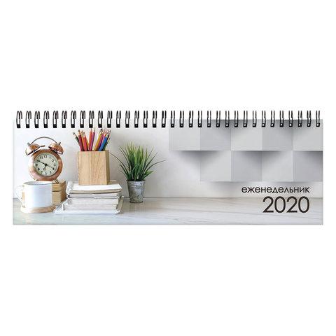"""089245 Планинг настольный 2020, обложка картон на спирали, """"Офис"""", 60 листов, 285х112 мм, STAFF"""