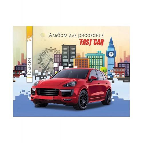 """088030 Альбом для рисования А5, 12 л., скрепка """"Красное авто и яркий город"""""""