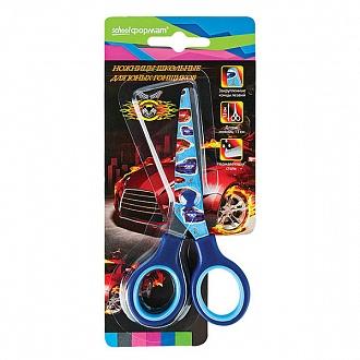 030061 Ножницы школьные Машины  с принтом на лезвиях
