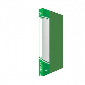 029442 Папка с прижимом inФОРМАТ А4, зеленый пластик,0,75 мм,карман