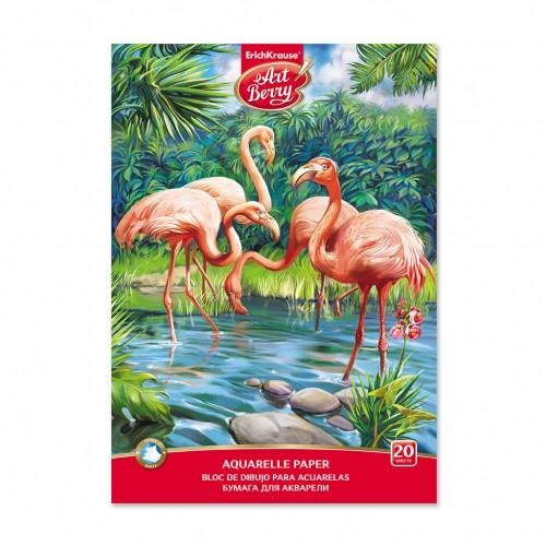 """087566 Альбом для акварели А4 20 л """"Фламинго"""",склейка"""